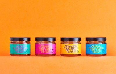 Sunny Hunny Plant-Based Vegan Honey Packaging Four Flavours. Original, Orange, Cinnamon & Ginger Sunny Hunny